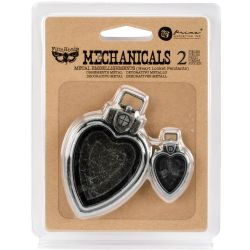 Prima Marketing Finnabair Mechanicals Metal Embellishments Heart Locket Pendants (2 pieces)